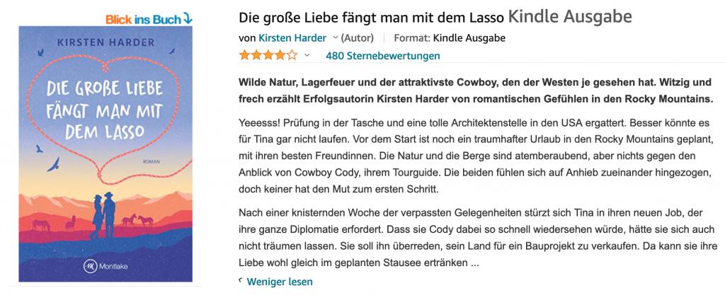"""Lass im Kindle Deal: Der Bestseller """"Die große Liebe fängt man mit dem Lasso"""" zum Sonderpreis"""